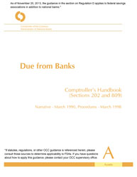 Comptroller's Handbook: Due From Banks Cover Image